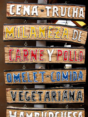 Sign outside of a restaurant on the Isla del Sol on Lake Titicaca in Bolivia