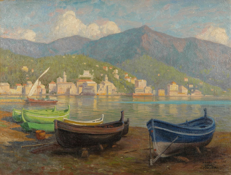 Paul Gustave Fischer - Harbour scene from Rapallo