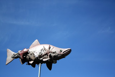 Fish sculpture in La Conner Washington