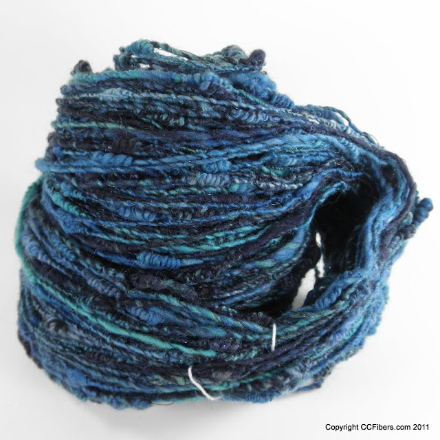 Black Friday Special - Handspun Art Yarn, Deepest Ocean