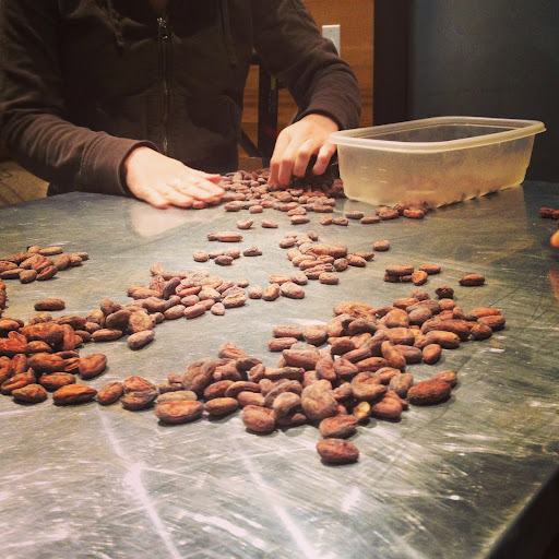 Sorting cacao beans. From  Small Batch: Pickles, Cheese, Chocolate, Spirits and the Return of Artisanal Food