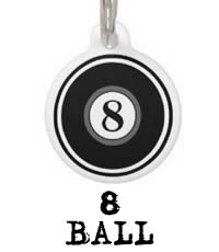 Eight Ball Two Sided Dog ID Tag