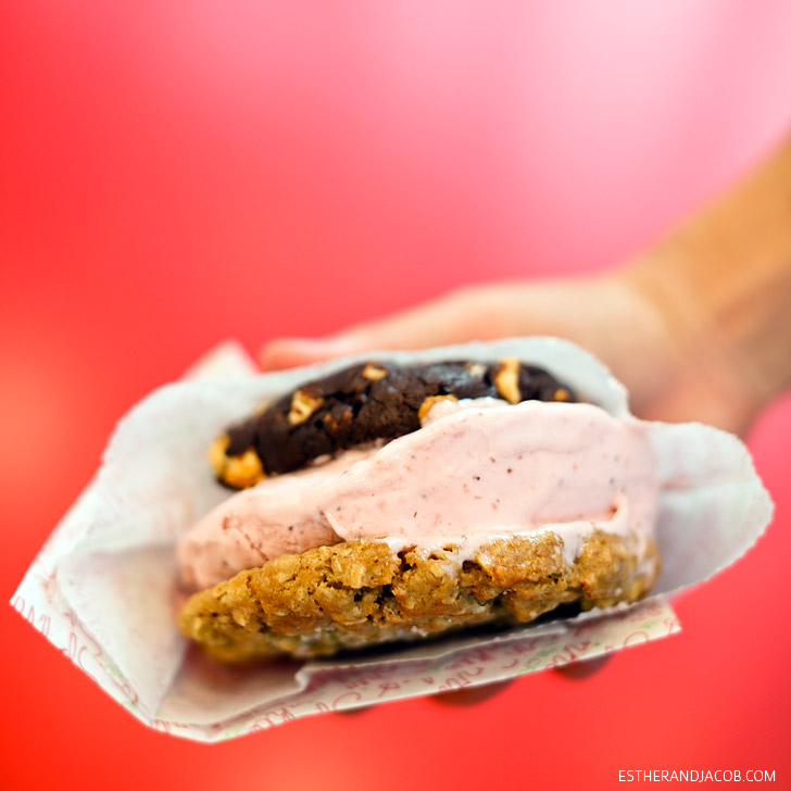 Best desserts in Las Vegas | Sprinkles Cookies and Ice Cream Cookie Sandwich.