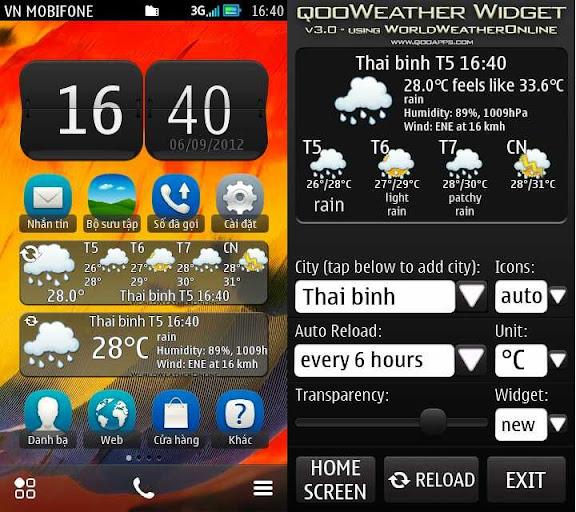 QooWeather Widget v4.0 - Widget dự báo thời tiết tùy chỉnh