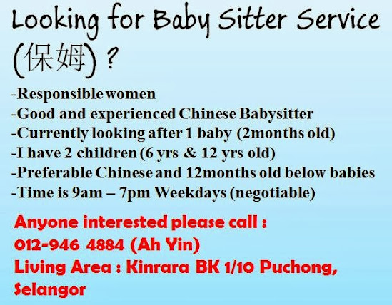 anyone looking for a babysitter