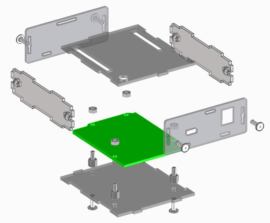 整列された3DCADデータイメージ Arduino Leonardo