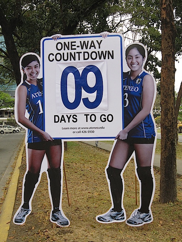 cut-out signboard featuring Ateneo women's volleyball players