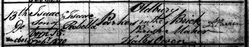 Isaac Parkes baptism record