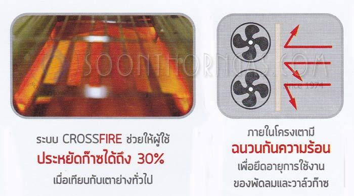 เตาย่าง ระบบ CROSSFIRE ประหยัดแก๊สได้ 30% ภายในเตาย่างมีฉนวนกันความร้อน