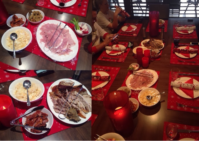 Christmas Dinner in Australia - Fresh Ham, Roasted Turkey, Potato Salad, Salads and Fresh Vegetables