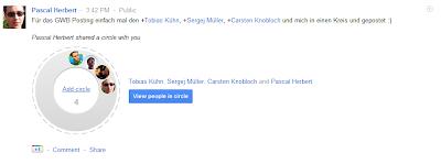 Google Plus Kreis teilen