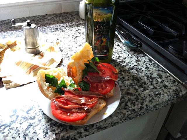 Ciabatta Role with Tomato, Basil, Extra Virgin Olive Oil, and Fillets of Anchovies