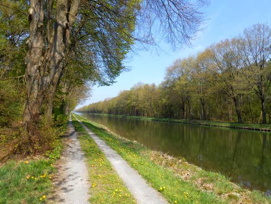 Nicht-asphaltierter Radweg am Dortmund-Ems-Kanal im Münsterland
