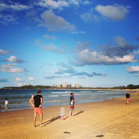Natasha in Oz, blogging from the beach, Mooloolaba Beach, Queensland, cricket on the beach image
