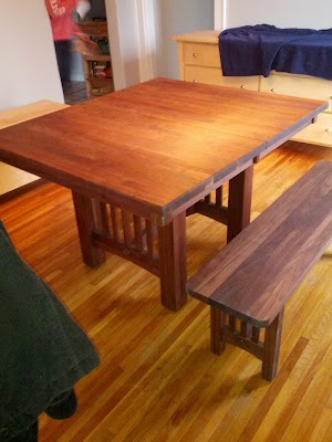 Albany Mission Dining Table and Bench in Oil & Wax Walnut