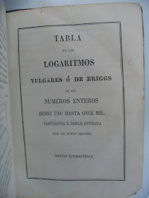 Tabla de los logaritmos vulgares ó de Briggs