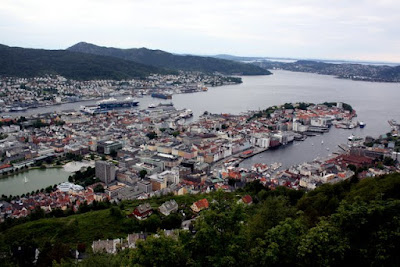 Views of Bergen from the top of the funicular