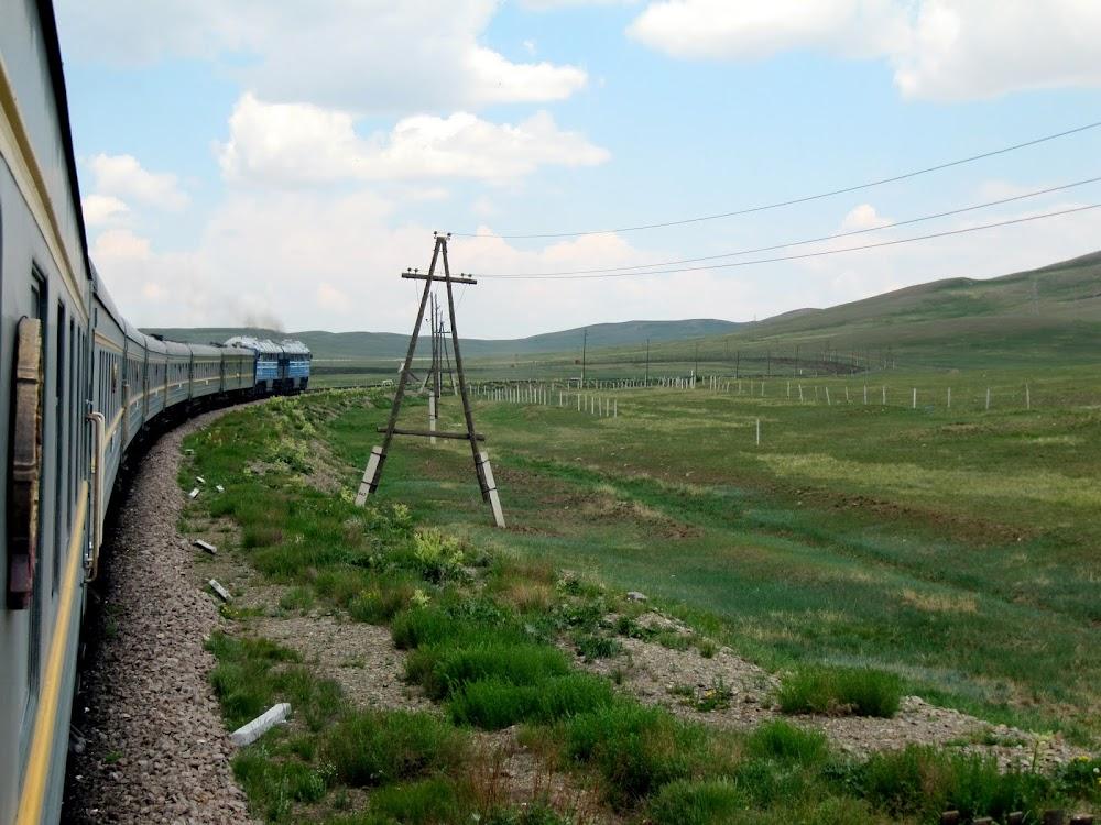 The Trans-Siberian Railway Passing Through Mongolia