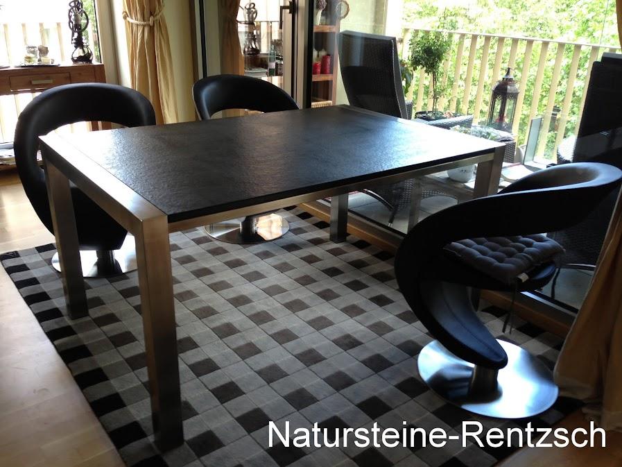 schreibtisch wohnzimmertisch mit natursteinplatte nero assoluto matt geb rstet ebay. Black Bedroom Furniture Sets. Home Design Ideas