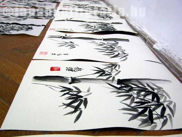 japán kalligráfia bambusz