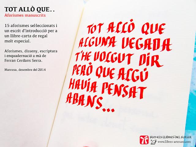 Llibre carta personalitzat a Llibres Artesans