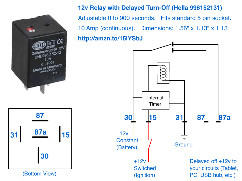 12v delayed turn off or turn off howto automotive relay socketpigtail but the pins dont map out the same ie dont try and just replace an existing relay in your car with this one asfbconference2016 Images