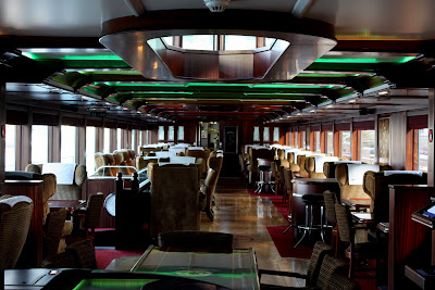 Interior room on the Spirit of Chartwell, the Diamond Jubilee barge for the Queen in London