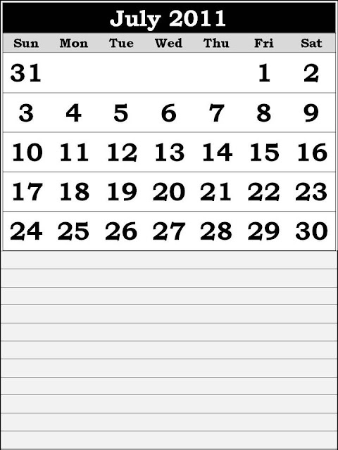 printable calendars july. Printable Calendar 2011 July