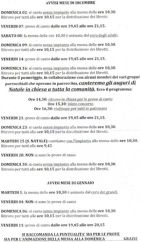 AVVISI MESE DI DICEMBRE 2012