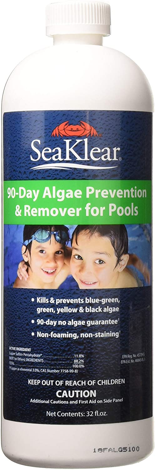 a white bottle of SeaKlear algaecide for swimming pools