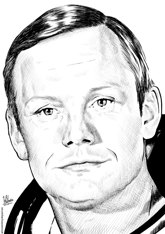 Ink drawing of Neil Armstrong, using Krita 2.4.