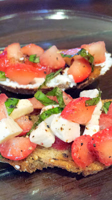 Strawberry Bruschetta, vegetarian and easy to put together with fresh strawberries, basil, olive oil and balsalmic vinegar, and good cheese on good bread