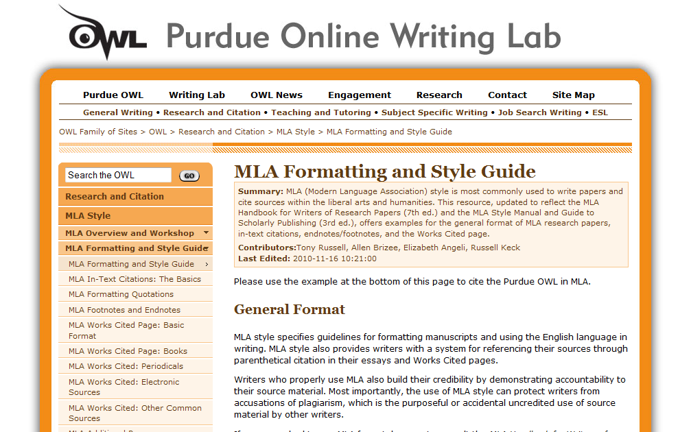 purdue owl mla style research paper How to cite your resources mla style search created by purdue online writing lab (owl), may be helpful: research papers & projects tags.