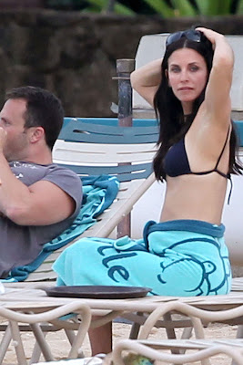 Courteney Cox In Blue Bikini