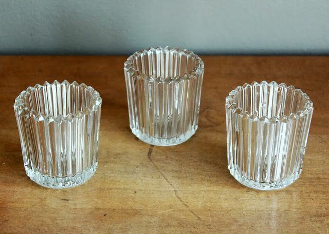 Clear Votives with Vertical Stripes from the rental inventory of www.momentarilyyours.com