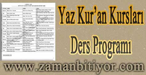 2012 Yaz Kur'an Kursları Günlük ve Haftalık Ders Programı