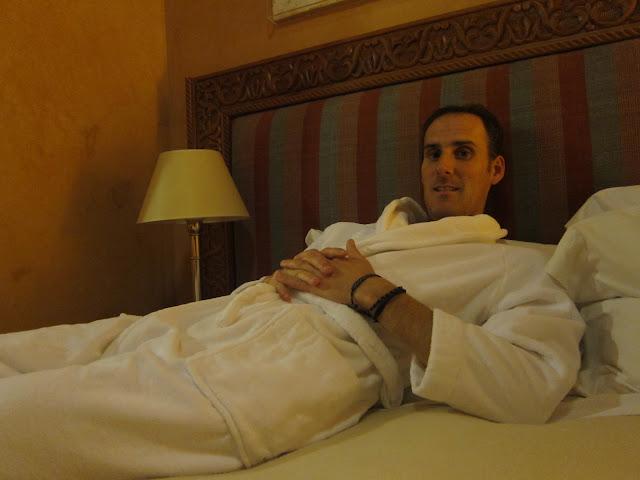 Jack lounging around in his bathrobe