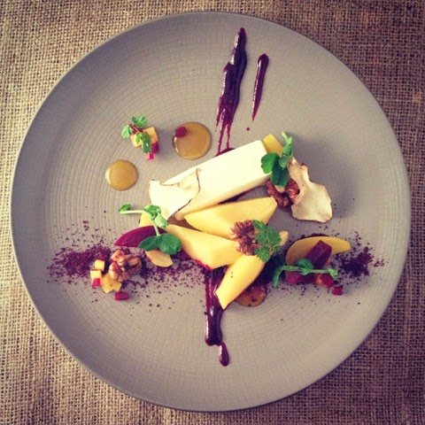 Saffron Poached Quince Goats Cheese, Candied Walnuts, Beetroot