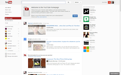 YouTube Startseite neu