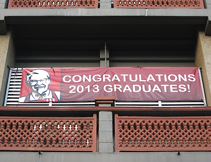 KFC sign congratulating 2013 graduates