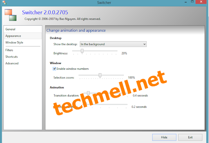 Appearance Settings in Switcher for Windows 8.1