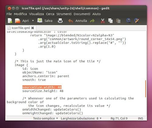 Dimensioni Launcher di Unity 2D su Ubuntu