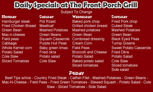 front porch grill daily specials in millbrook, alabama