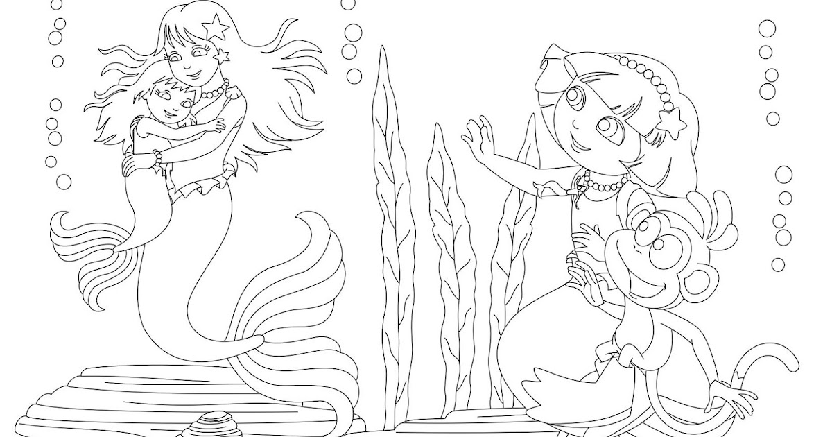 Dora the explorer mermaids coloring page for Dora mermaid coloring pages
