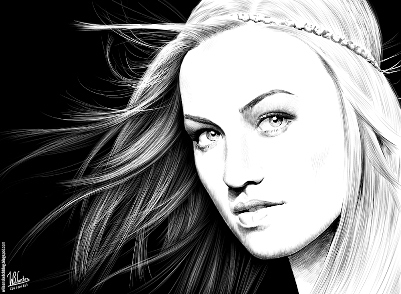 Ink drawing of Yvonne Strahovski, using Krita 2.4.