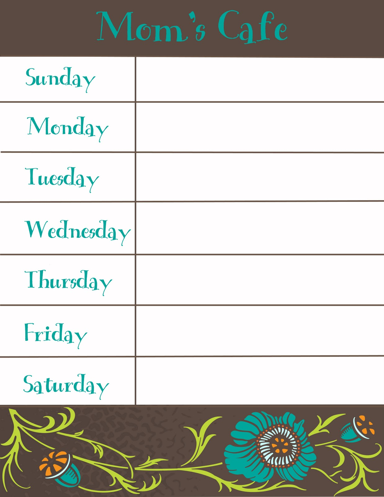 Unforgettable image pertaining to menu planner printable