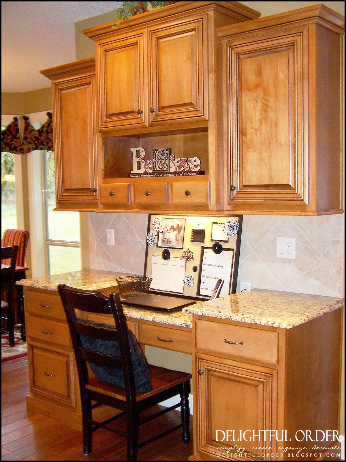 Kitchen Desk Cabinets Delightful Order Kitchen Command Center