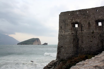 City walls and an island in Budva Montenegro