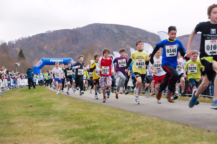 Primary Boys near the start of the MPH 1.5K