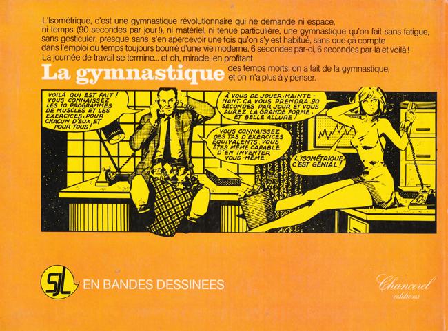 Couverture d'ouvrage instructif vintage : La gymnastique en bandes dessinées - Pour vous Madame, pour vous Monsieur, des publicités, illustrations et rédactionnels choisis avec amour dans des publications des années 50, 60 et 70. Popcards Factory vous offre des divertissements de qualité. Vous pouvez également nous retrouver sur www.popcards.fr et www.filmfix.fr